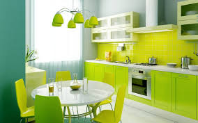 colors green kitchen ideas. Kitchen:Charming Fresh Lime Green Kitchen Ideas With Round White Dining Table Over Cone Hanging Colors