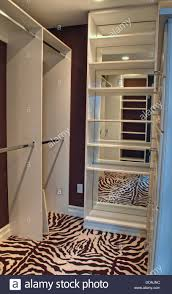 This is the inside of a beautiful empty closet with shelves and