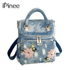 iPinee <b>backpack women</b> washed denim <b>backpack</b> school <b>bags</b> for ...