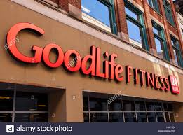 the logo and sign at a goodlife fitness gym in ottawa ontario canada