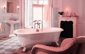 ravishing vintage pink bathroom tile ideas combine with white clowfoot bathtub and pink painted wall also wicker chair using portable wall divider