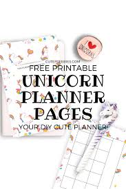 Free Unicorn Diy Printable Planner Cute Freebies For You