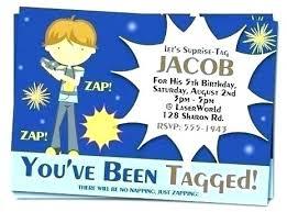 Free Laser Tag Invitation Template Laser Tag Birthday Invitations Free Free Orange Gun Laser Tag