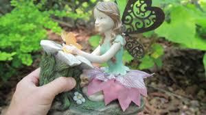 solar garden fairy resin statues palmate patio decor