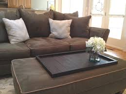 Large Square DIY Coffee Table Tray For Ottoman Coffe Table In Living Room  With Brown Microfiber Sofa Ideas