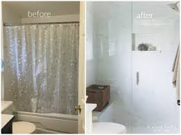 before and after bathroom makeover using porcelain tile that looks like carrara marble