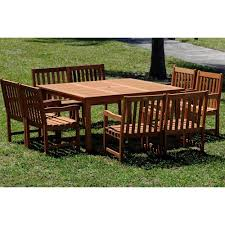 ia milano deluxe 9 piece eucalyptus wood square patio dining set