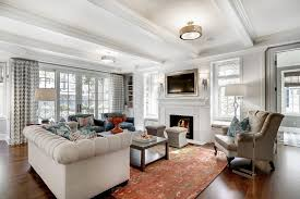 Magnificent Semi Flush Ceiling Light In Living Room Transitional With White  Fireplace Mantel Next To Basketweave