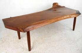 vintage modern wood slab coffee table