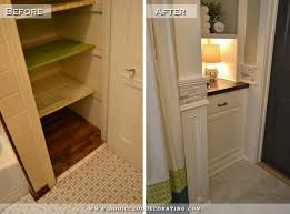 bathroom closet designs. Delighful Closet Bathroom Remodel Before And After  Linen Closet Replaced With Lower Cabinet  Open Shelves On Inside Bathroom Closet Designs