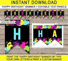 custom happy birthday banner neon glow party pennant banner template happy birthday banner