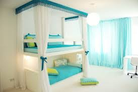 bedroom design for teenagers with bunk beds. Charismatic Twins Bedroom Design Ideas For Small Spaces With Bunk Beds Which Has White Mosquito Net As Well Beautiful Torquoise Rod Pocket Teenagers