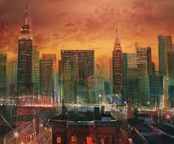 chrysler building painting new york the emerald city by tom shropshire