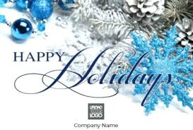 Blue Happy Holidays Free Greeting Card Template Off Ends 1 Holiday ...