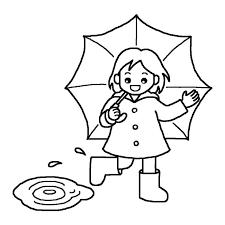 赤い傘と長靴白黒梅雨6月の無料イラスト夏の季節行事素材 梅雨
