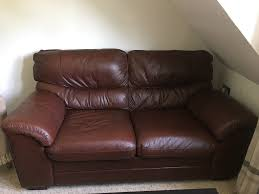 2 5 seat chestnut brown leather sofa