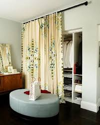 Bedroom Closet Door Beautiful Flower Motifs Yellow Curtain Closet ...