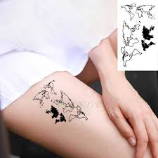 W09 1 Piece Watercolor Travel World Map Non Toxic Tattoo With Day