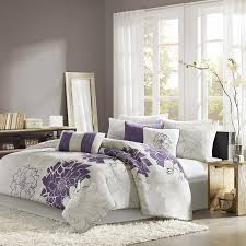 com madison park lola 7 piece print comforter set king grey purple home kitchen