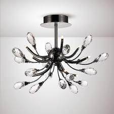 anita 9 light semi flush ceiling fitting in black chrome and crystal finish