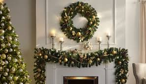 Mantle Garland Lights Christmas Greenery The Home Depot