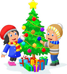 Decorating Christmas Tree With Balls Happy Kids Cartoon Decorating A Christmas Tree With Balls Stock 100