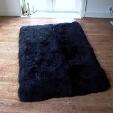 black sheepskin rug. Rectangular Lined Black Sheepskin Rug (160x110cm)