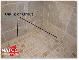 using caulk or grout around shower floor