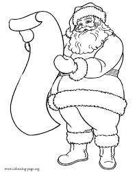 Santa Claus And The List Of Gifts Coloring Page Christmas