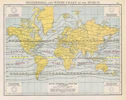 Details About Isothermal Wind Chart Of The World Antique Map 1893 By Cassell