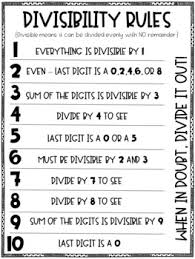 Divisibility Rules Chart Divisibility Rules Printable Anchor Chart Printer Friendly