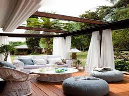 Exteriors : Gazbo Glorious Wooden Canopy With White Curtain As Small Ideas  Outdoor Furnishing Garden Decoration Couch And Circled Breakfast Table Also  .