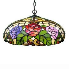 warehouse of tiffany 2 light bronze hanging large pendant with stained glass