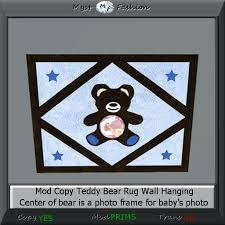 second life marketplace teddy bear photo frame rug blue hanging on wall