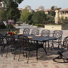 darlee florence 11 piece cast aluminum patio dining set with extension table mocha