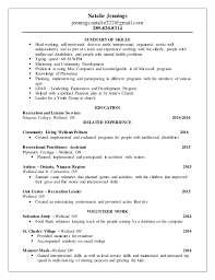 Recreation resume 2016. Natalie Jennings jennings.natalie222@gmail.com  289-820-8314 SUMMARY OF ...