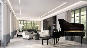 Modern Living Room With Led Lighting And A Grand Piano Arrange A