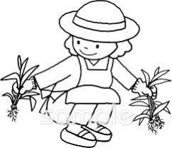 女性 除草作業イラストなら小学校幼稚園向け保育園向け健康