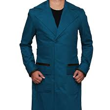 mens blue trench long coat