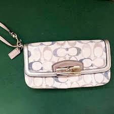 Authentic Coach Kristin embellished signature large wristlet, Luxury, Bags    Wallets on Carousell