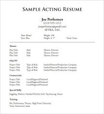 Theater Resume Template Inspiration Theatre Resume Template Acting 28 Free Word Excel Within Theater