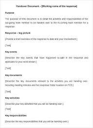 Free Download Handover Report Template Checklist Example