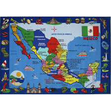 4 x 6 small mexico map multi color area rug fun time