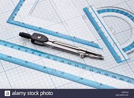 Geometry Tools On A Graph Paper Stock Photo 39684851 Alamy