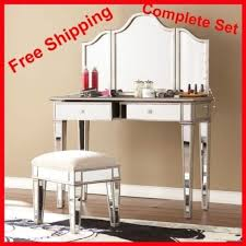 white desk vanity set tables with mirror mirrored stool console bed room silver