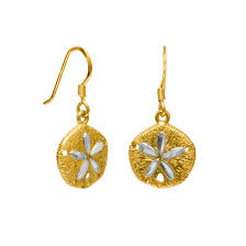 gold plated sand dollar french wire earrings 7060 64007