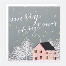 Pink Christmas Card Snowy Pink House Card Pack Of 5 Caroline Gardner Uk
