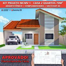 Veja como fazer inscrição em algumas cidades. Kit Projeto Mcmv 1 Casa 2 Quartos 70m Mestre Da Obra