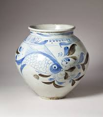 Korean Pottery Designs Jar With Underglaze Cobalt Blue And Iron Brown Designs Of
