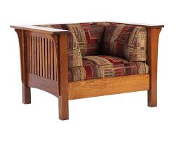 Mission Style Living Room Chair Oak Mission Low Back Wide Chair Amish Furniture Solid Wood